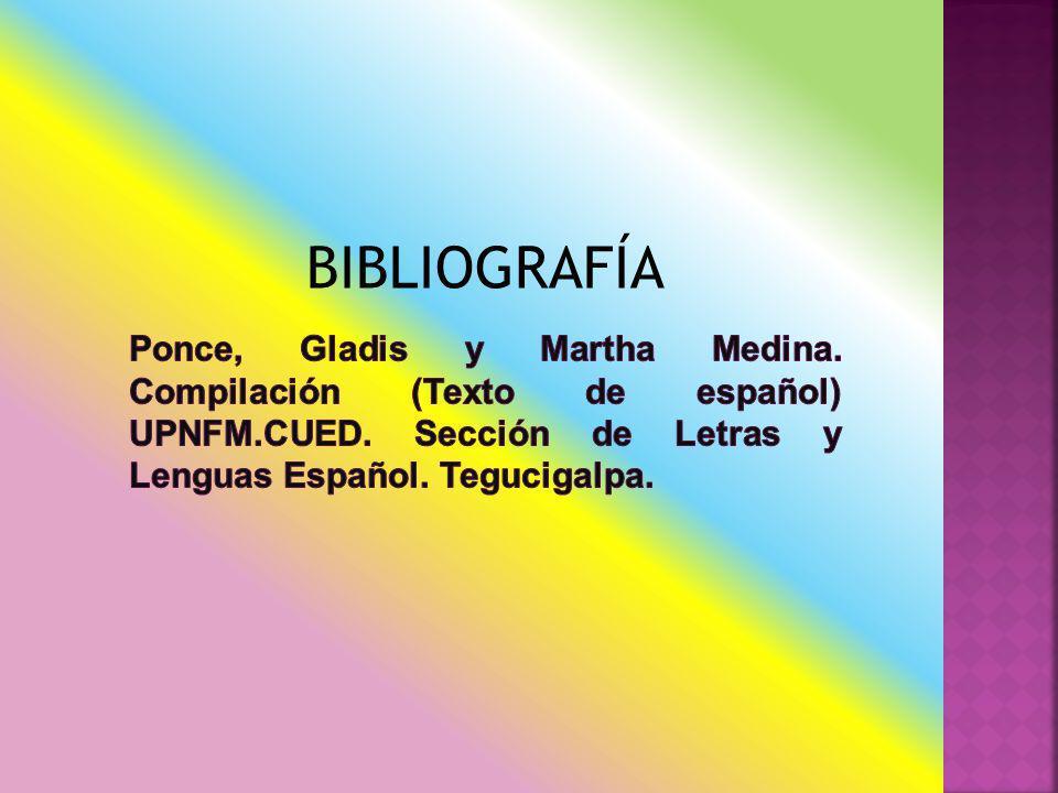 BIBLIOGRAFÍA Ponce, Gladis y Martha Medina. Compilación (Texto de español) UPNFM.CUED.