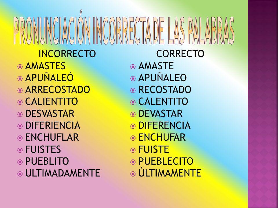 PRONUNCIACIÓN INCORRECTA DE LAS PALABRAS