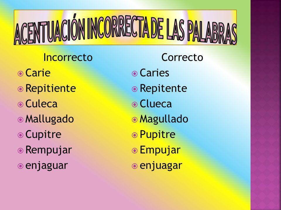 ACENTUACIÓN INCORRECTA DE LAS PALABRAS