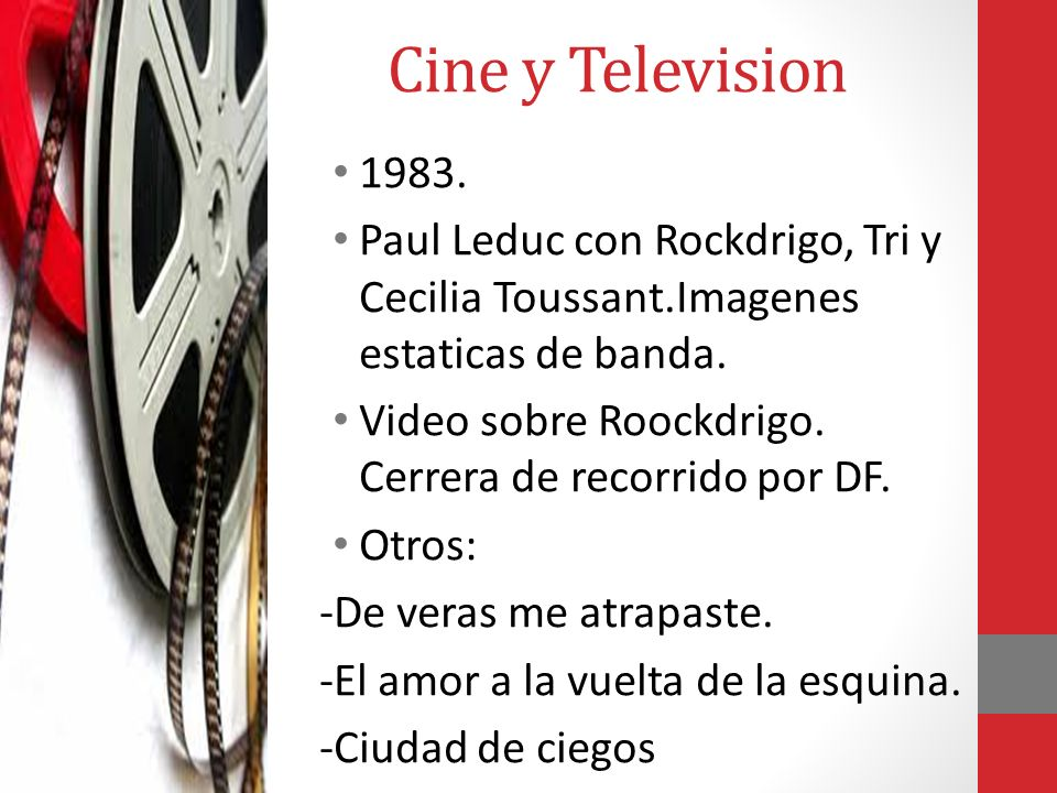 Cine y Television 1983. Paul Leduc con Rockdrigo, Tri y Cecilia Toussant.Imagenes estaticas de banda.