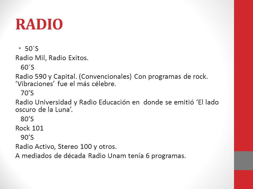 RADIO 50´S Radio Mil, Radio Exitos. 60´S