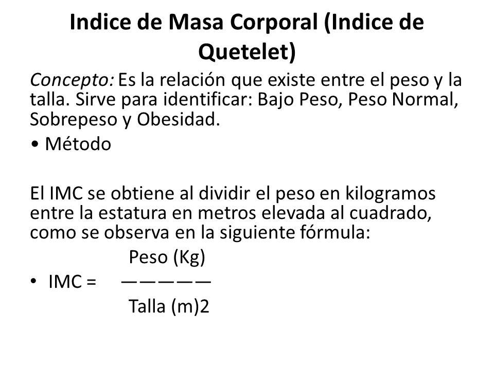 Indice de Masa Corporal (Indice de Quetelet)