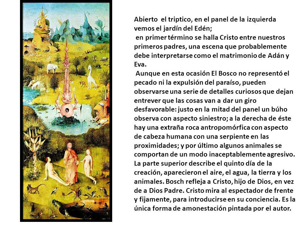 Abierto el triptico, en el panel de la izquierda vemos el jardín del Edén;