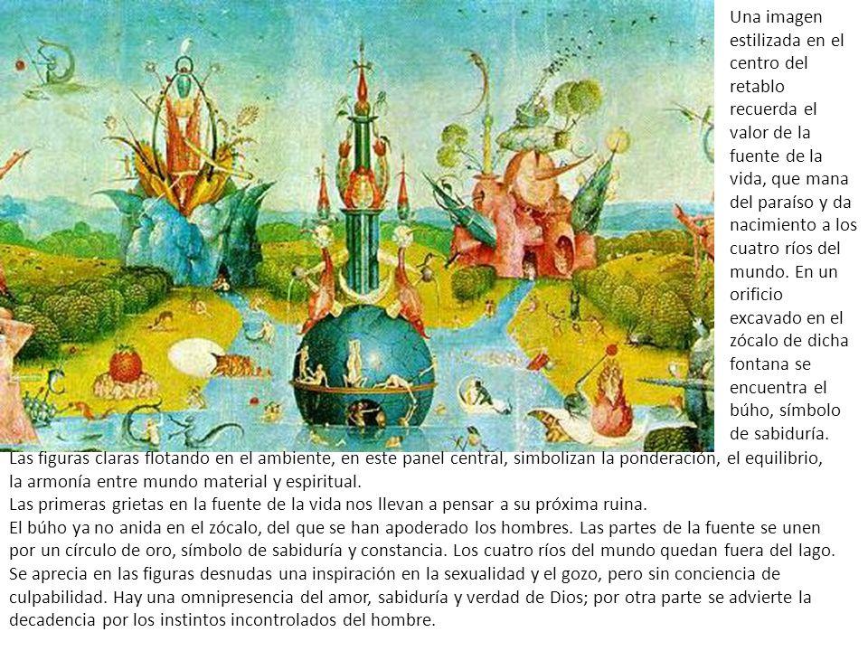 Una imagen estilizada en el centro del retablo recuerda el valor de la fuente de la vida, que mana del paraíso y da nacimiento a los cuatro ríos del mundo. En un orificio excavado en el zócalo de dicha fontana se encuentra el búho, símbolo de sabiduría.