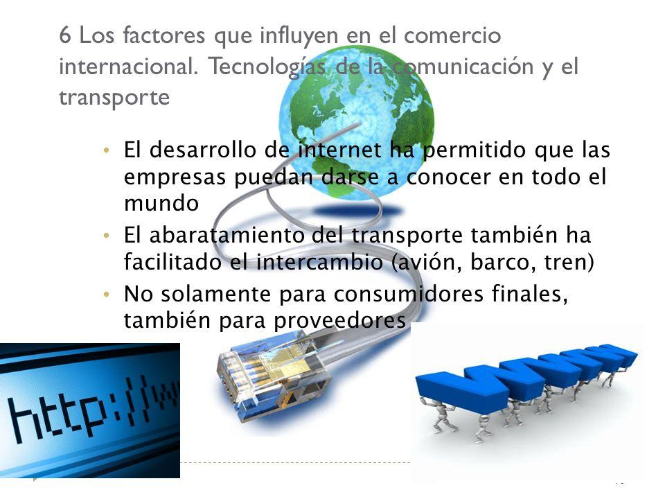 6 Los factores que influyen en el comercio internacional