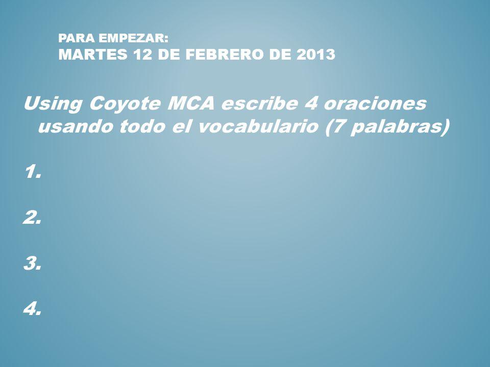 Para Empezar: martes 12 de febrero de 2013
