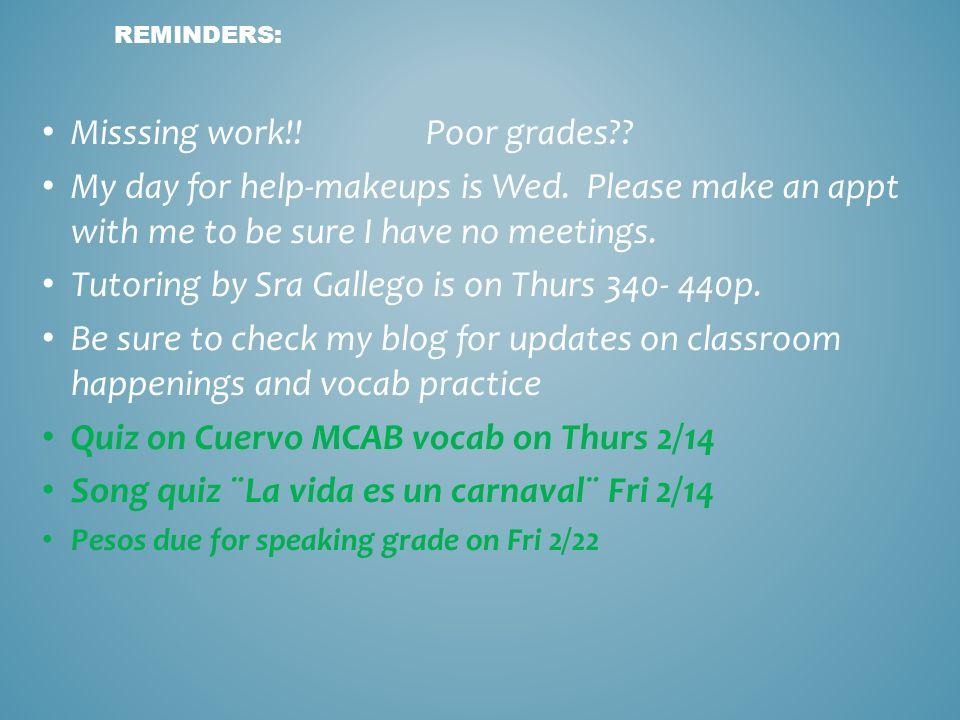 Misssing work!! Poor grades
