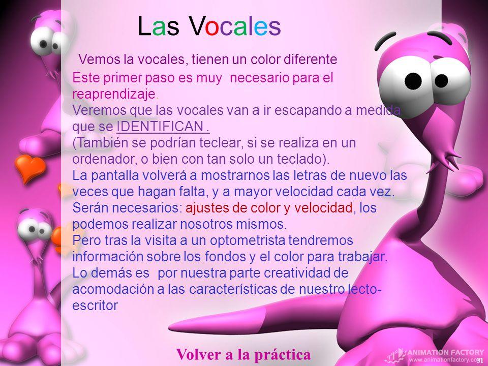 Las Vocales Vemos la vocales, tienen un color diferente