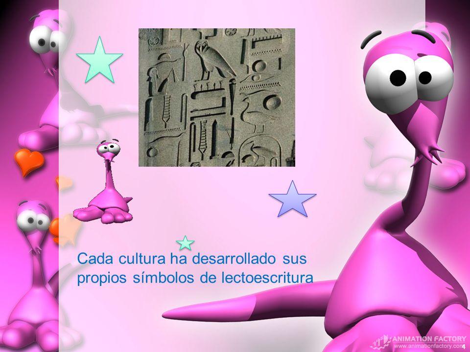Cada cultura ha desarrollado sus propios símbolos de lectoescritura