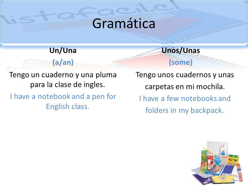 Gramática Un/Una (a/an) Unos/Unas (some)