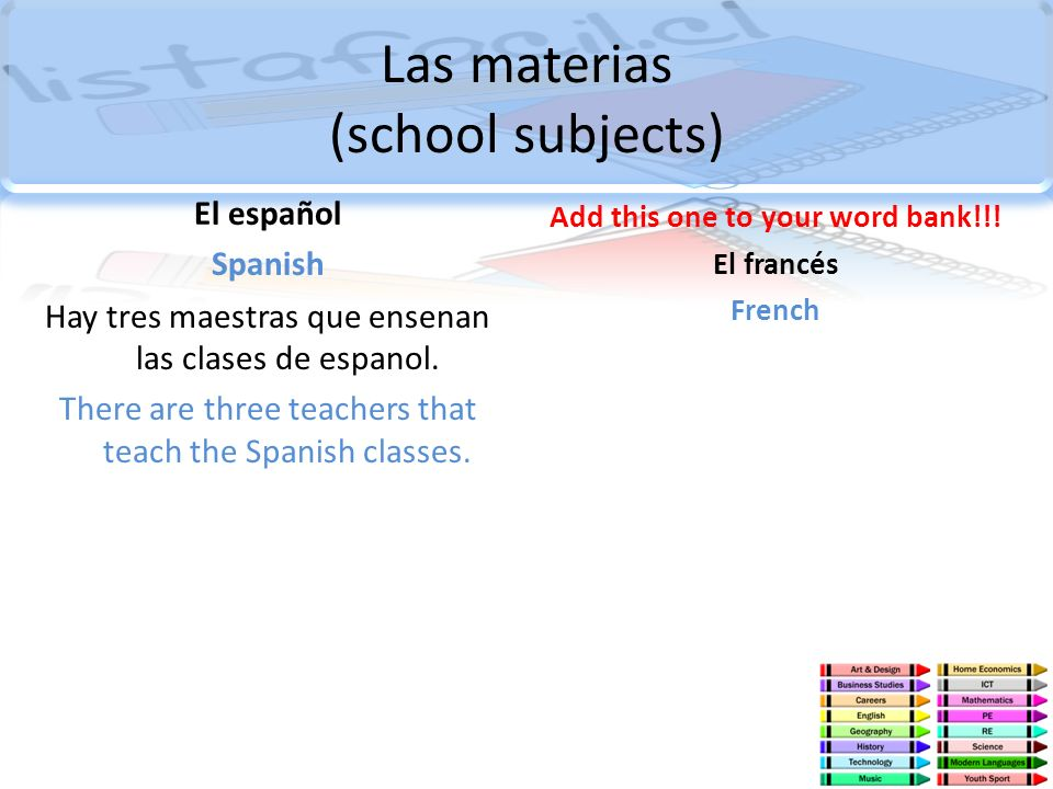 Las materias (school subjects)