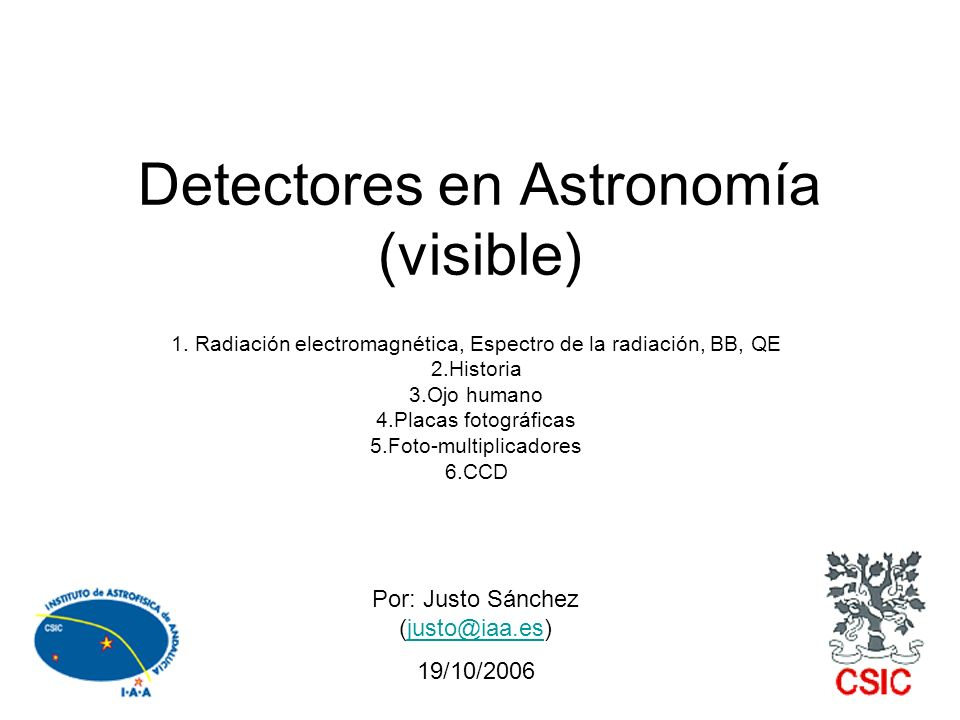 Detectores en Astronomía (visible)