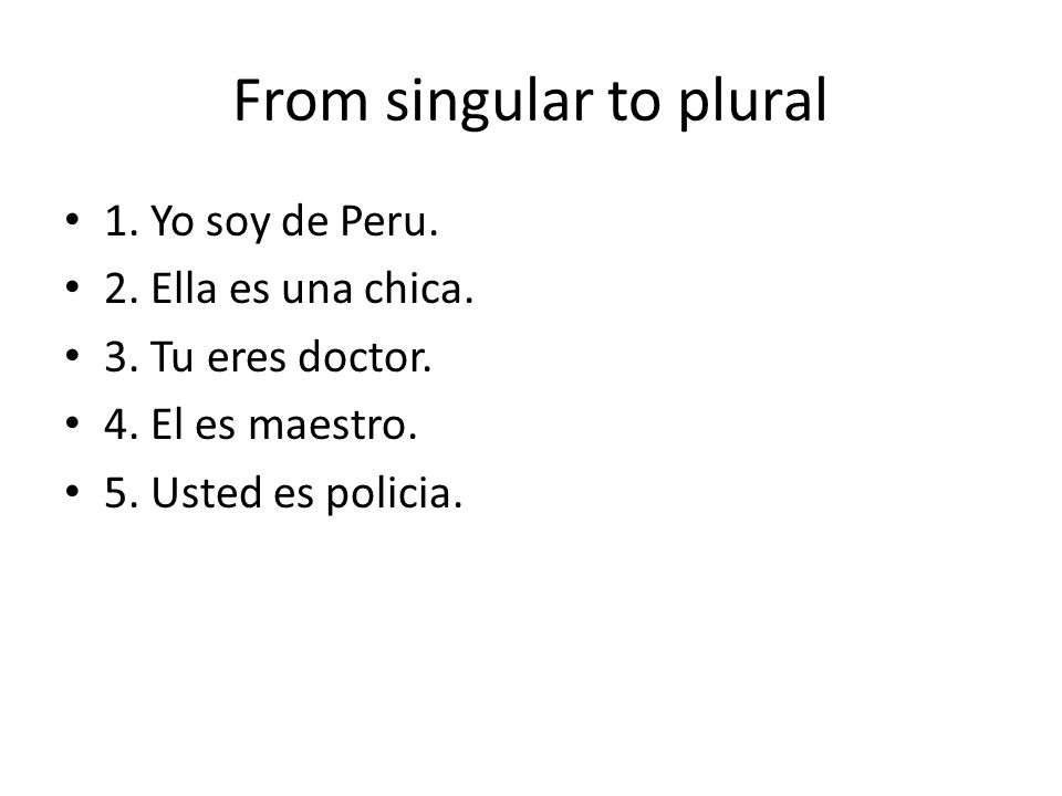 From singular to plural
