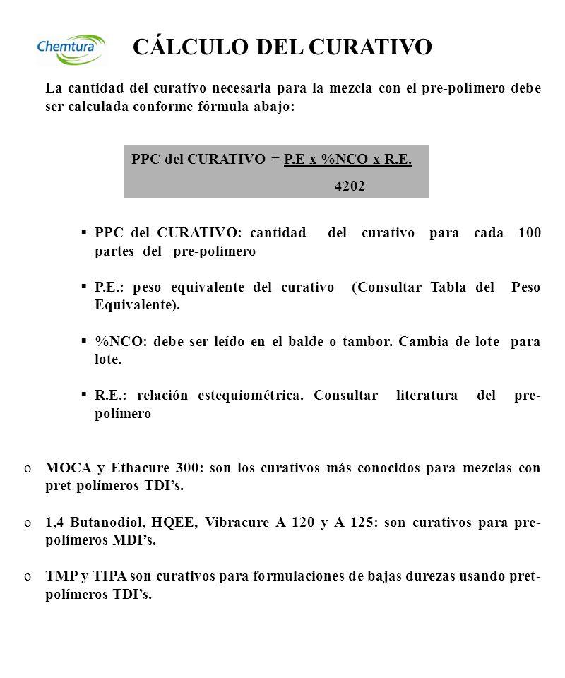 CÁLCULO DEL CURATIVO La cantidad del curativo necesaria para la mezcla con el pre-polímero debe ser calculada conforme fórmula abajo: