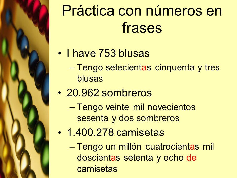 Práctica con números en frases