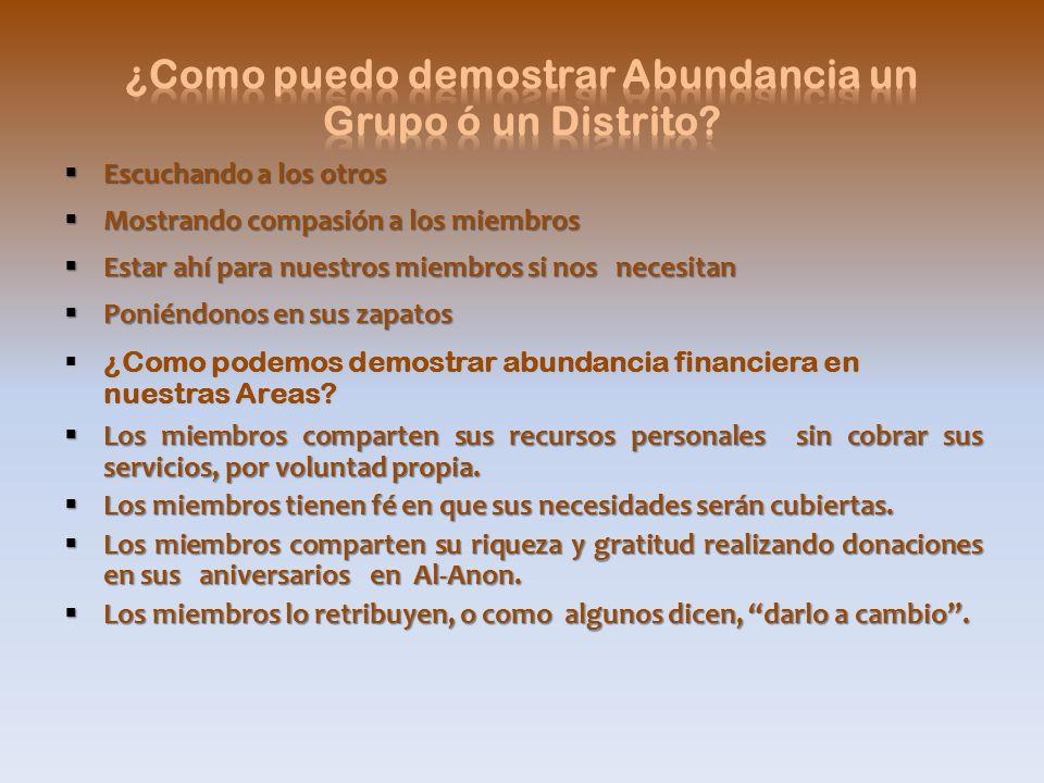 ¿Como puedo demostrar Abundancia un Grupo ó un Distrito