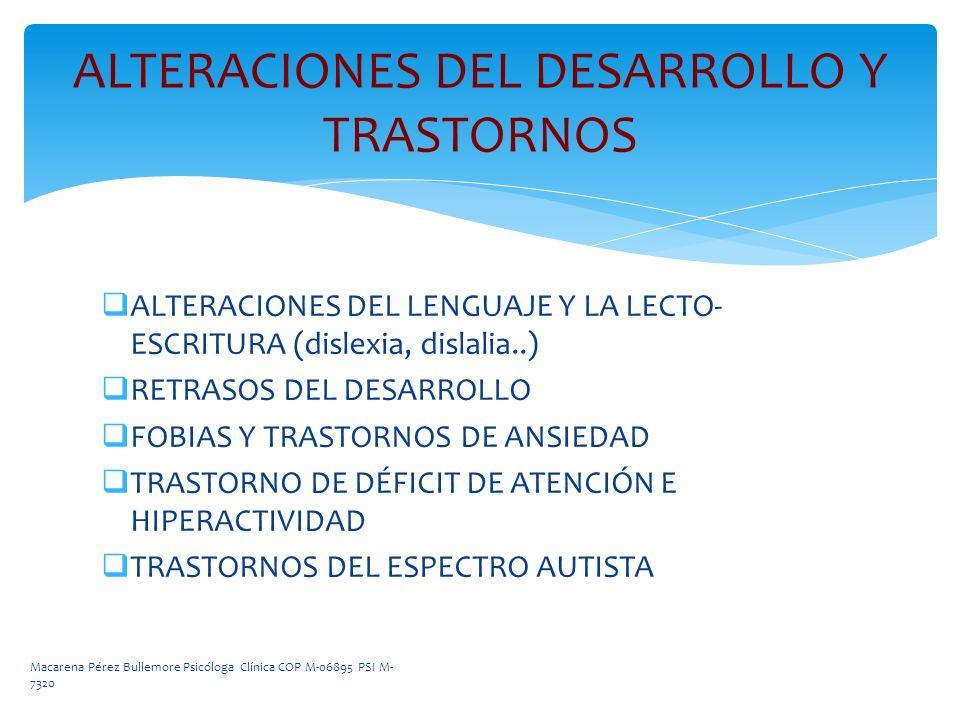 ALTERACIONES DEL DESARROLLO Y TRASTORNOS