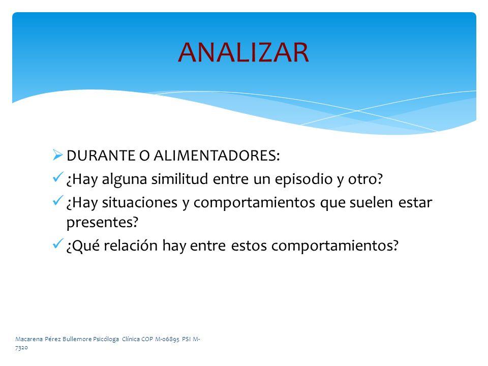 ANALIZAR DURANTE O ALIMENTADORES: