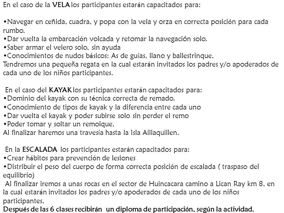 En el caso de la VELA los participantes estarán capacitados para: