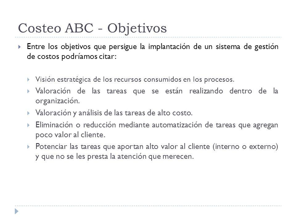 Costeo ABC - Objetivos Entre los objetivos que persigue la implantación de un sistema de gestión de costos podríamos citar: