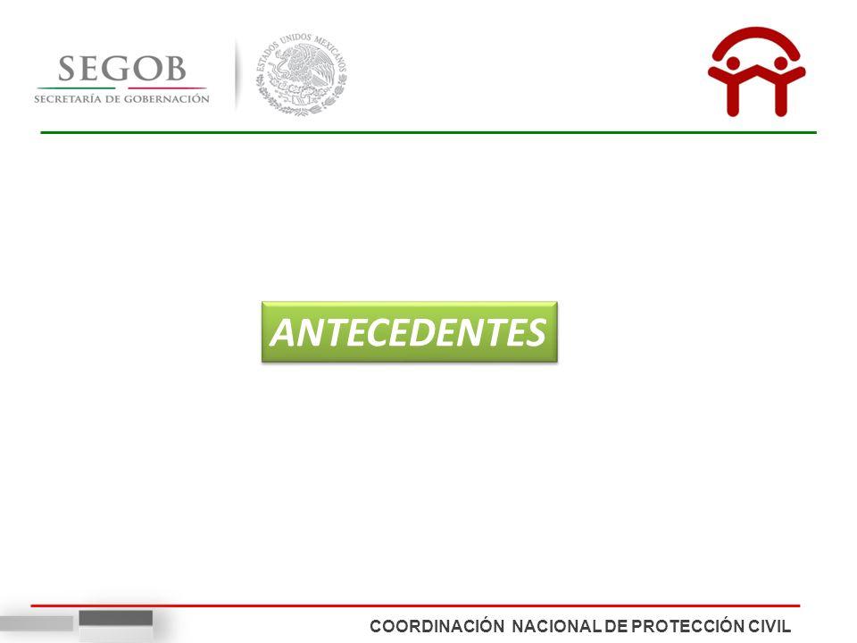 ANTECEDENTES COORDINACIÓN NACIONAL DE PROTECCIÓN CIVIL