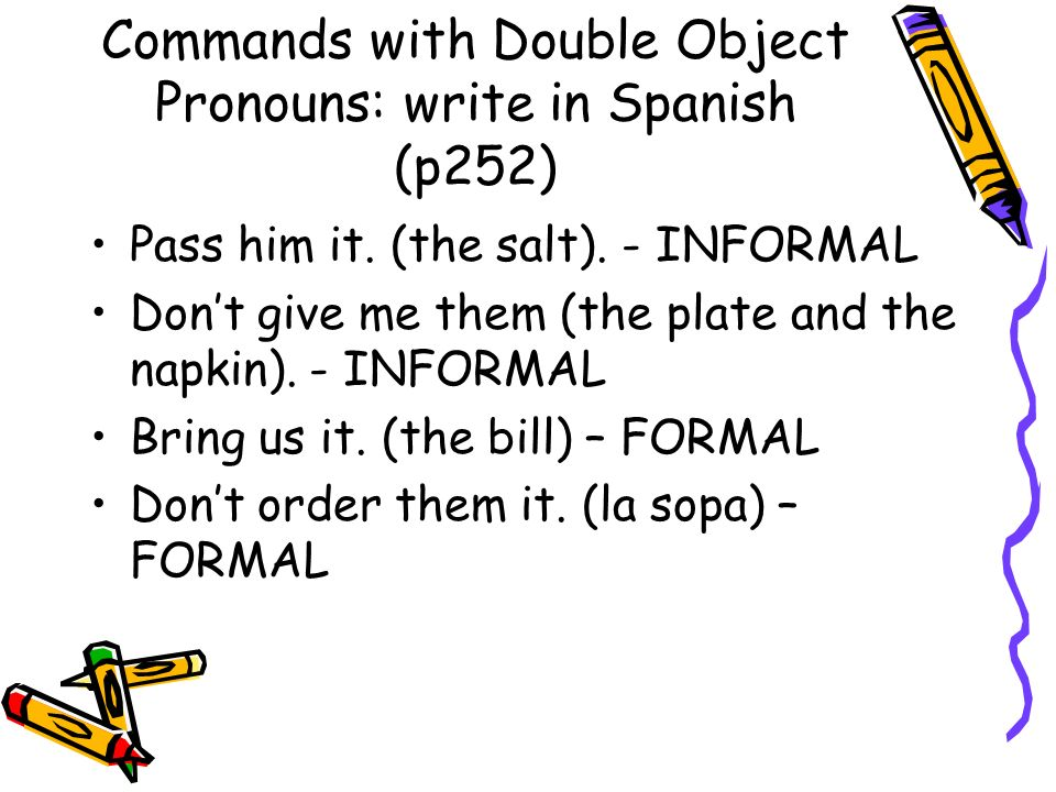 Commands with Double Object Pronouns: write in Spanish (p252)
