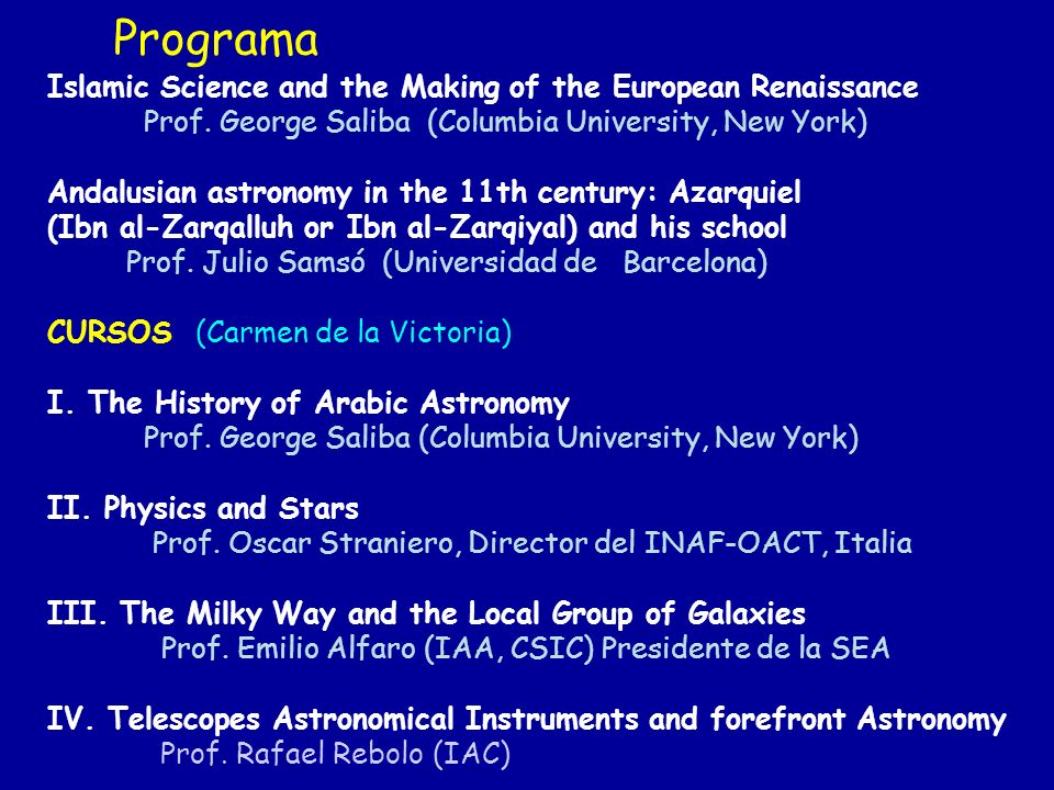 Programa Islamic Science and the Making of the European Renaissance