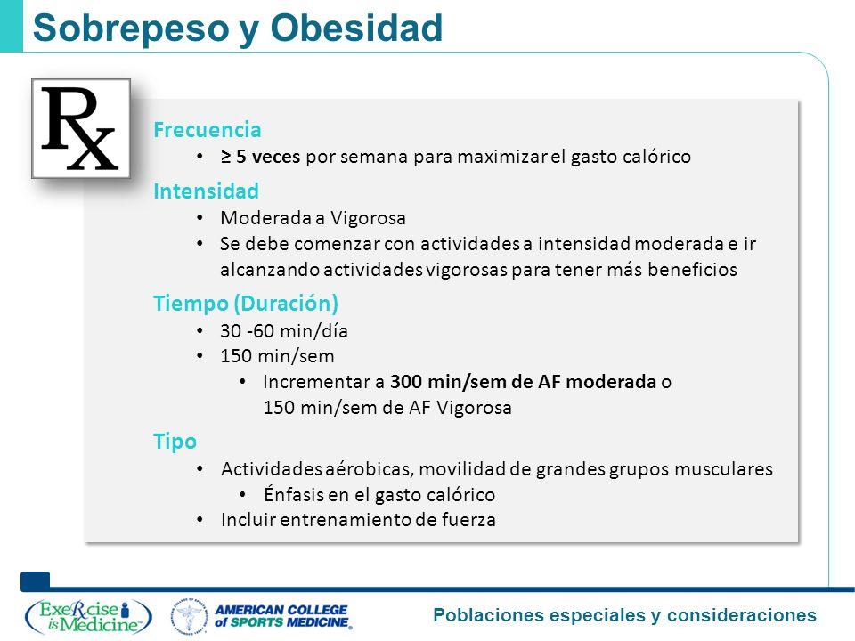 Sobrepeso y Obesidad Frecuencia Intensidad Tiempo (Duración) Tipo