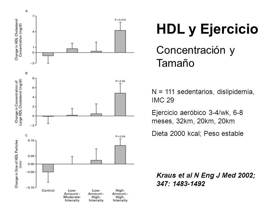 HDL y Ejercicio Concentración y Tamaño