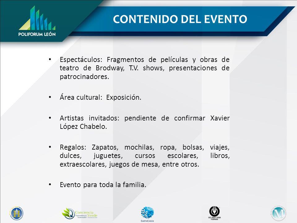 CONTENIDO DEL EVENTO Espectáculos: Fragmentos de películas y obras de teatro de Brodway, T.V. shows, presentaciones de patrocinadores.