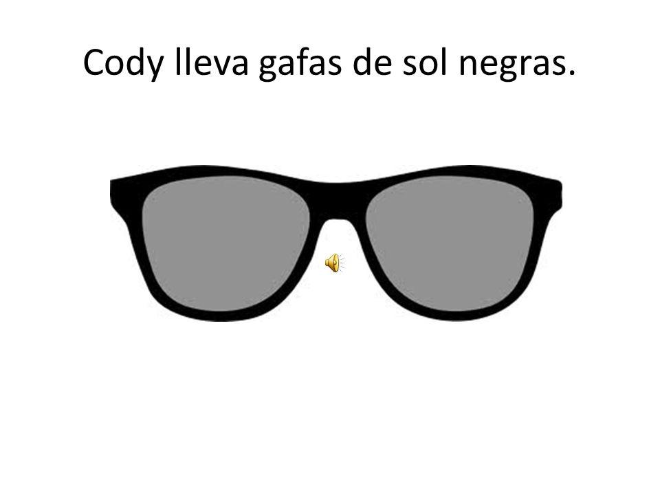Cody lleva gafas de sol negras.