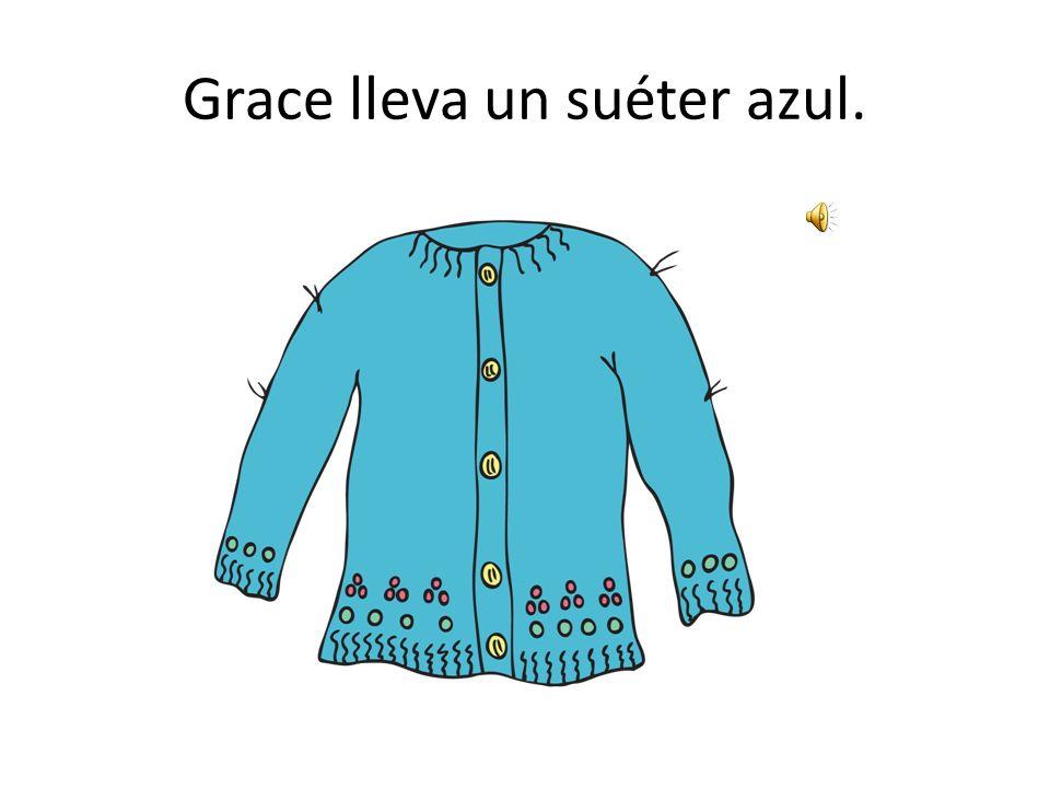 Grace lleva un suéter azul.