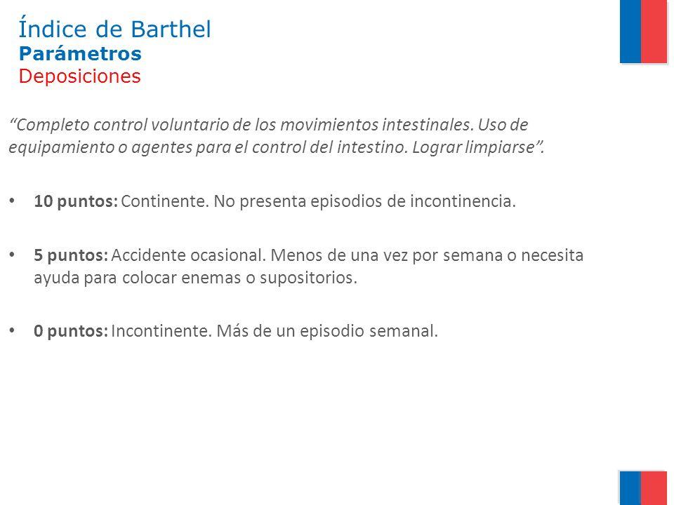 Índice de Barthel Parámetros Deposiciones