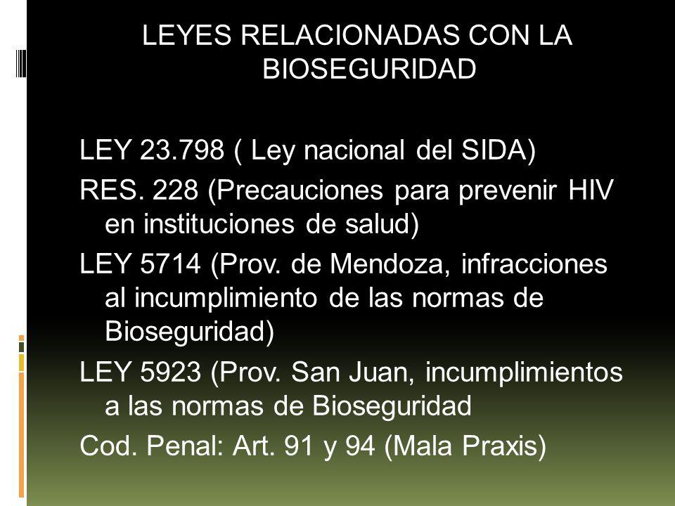 LEYES RELACIONADAS CON LA BIOSEGURIDAD LEY 23