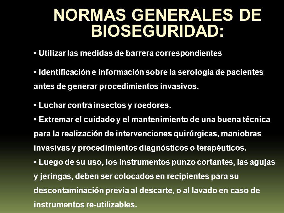NORMAS GENERALES DE BIOSEGURIDAD: