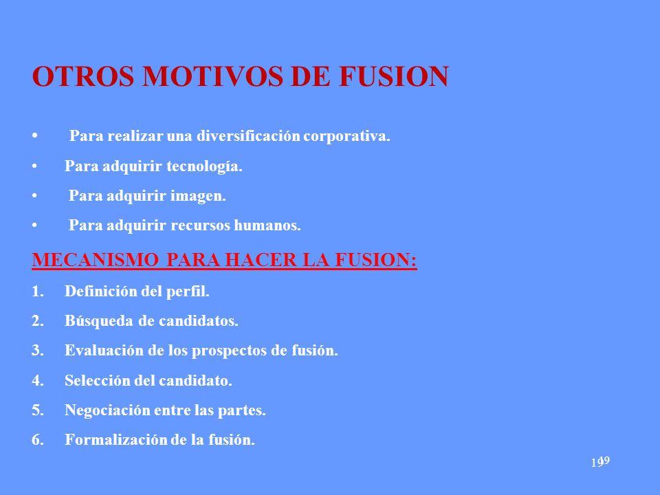 OTROS MOTIVOS DE FUSION