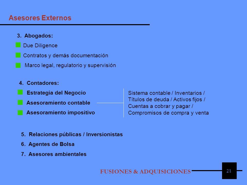Asesores Externos 3. Abogados: Due Diligence