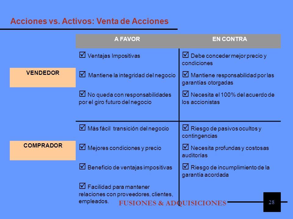 Acciones vs. Activos: Venta de Acciones  Ventajas Impositivas