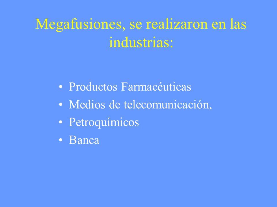 Megafusiones, se realizaron en las industrias: