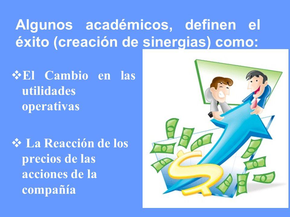 Algunos académicos, definen el éxito (creación de sinergias) como: