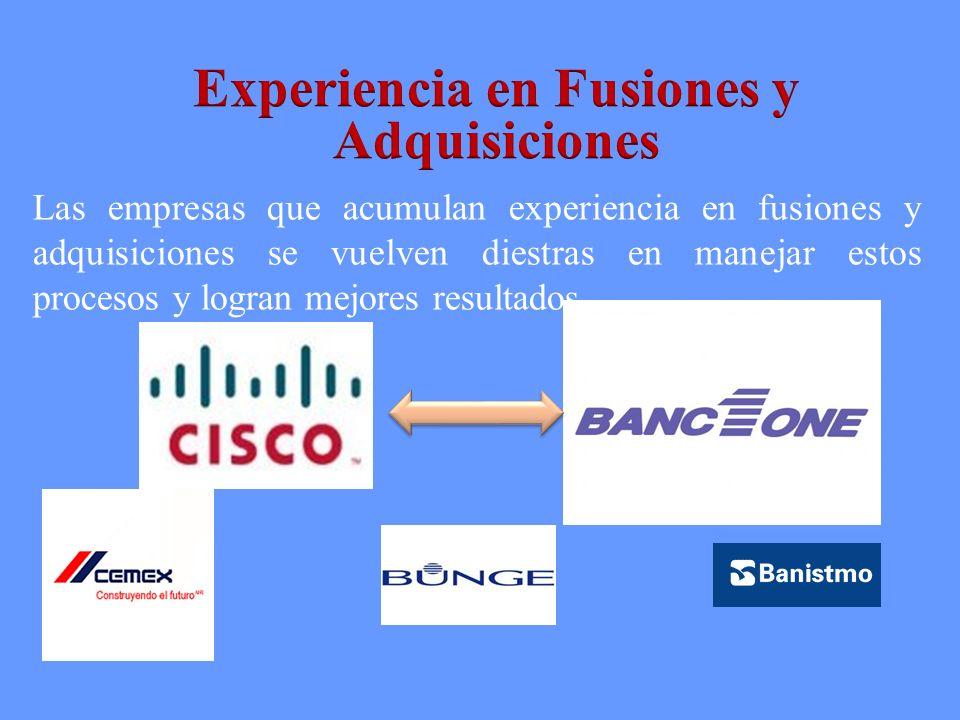 Experiencia en Fusiones y Adquisiciones