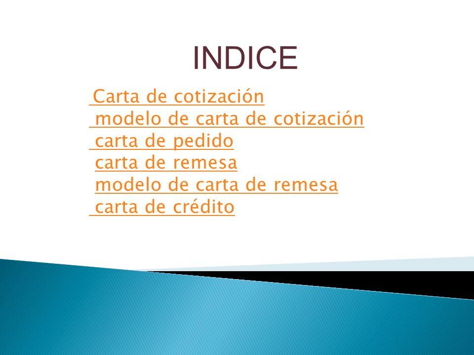 INDICE Carta de cotización.