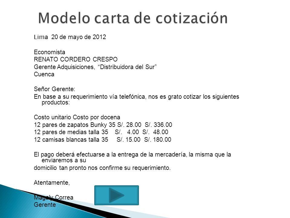 Modelo carta de cotización