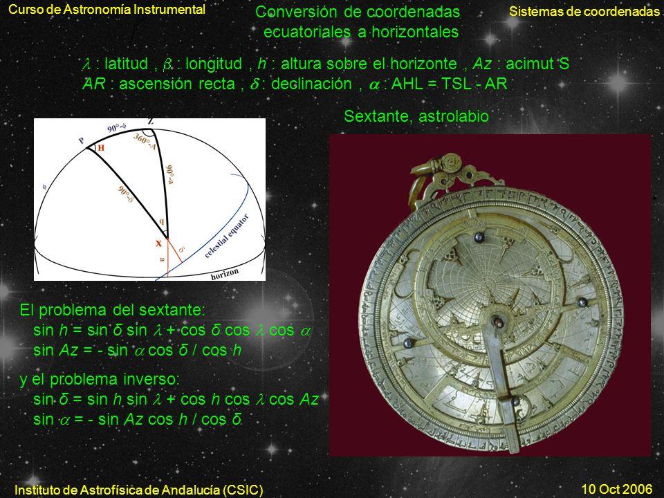 Conversión de coordenadas ecuatoriales a horizontales