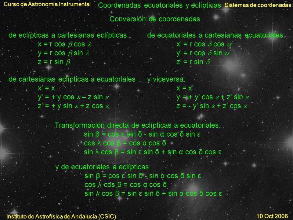 Coordenadas ecuatoriales y eclípticas