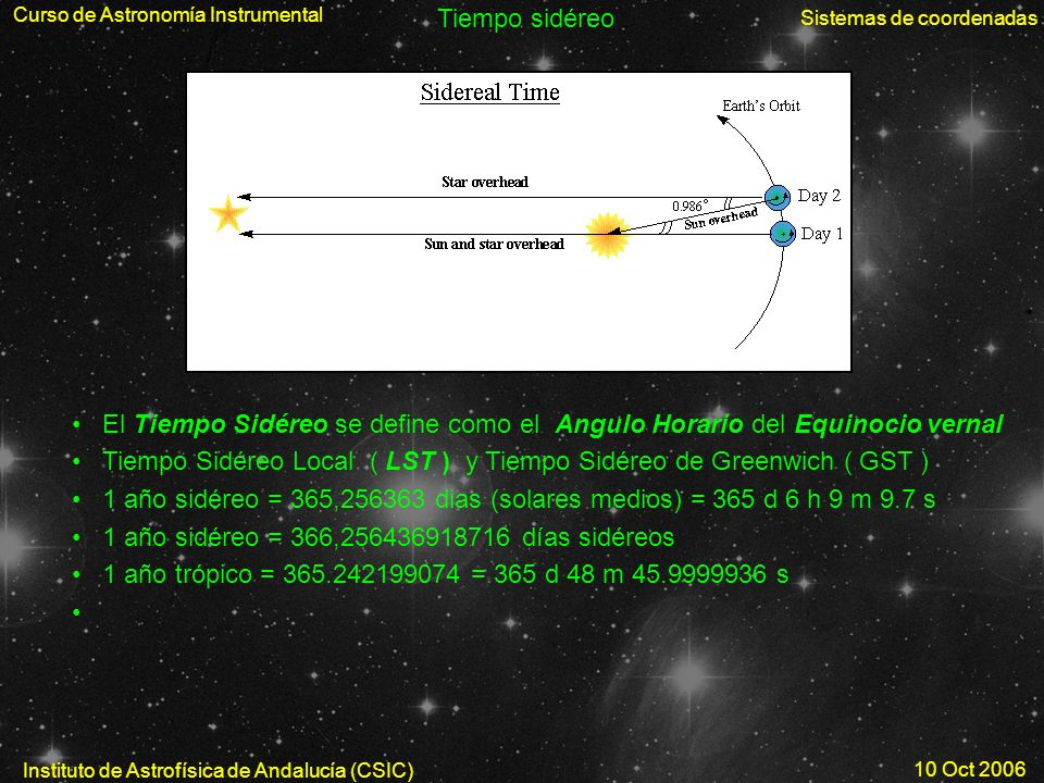 Tiempo Sidéreo Local ( LST ) y Tiempo Sidéreo de Greenwich ( GST )