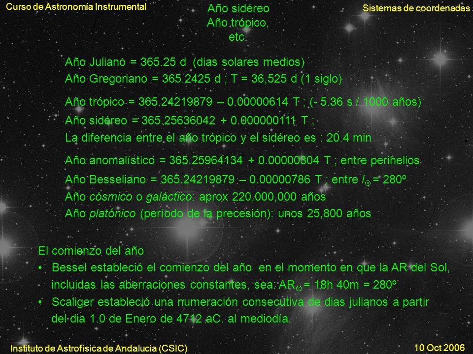 Año Juliano = 365.25 d (dias solares medios)