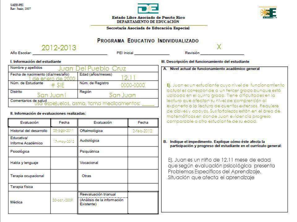 X 2012-2013 Juan Del Pueblo Cruz 12.11 # SIE San Juan I San Juan