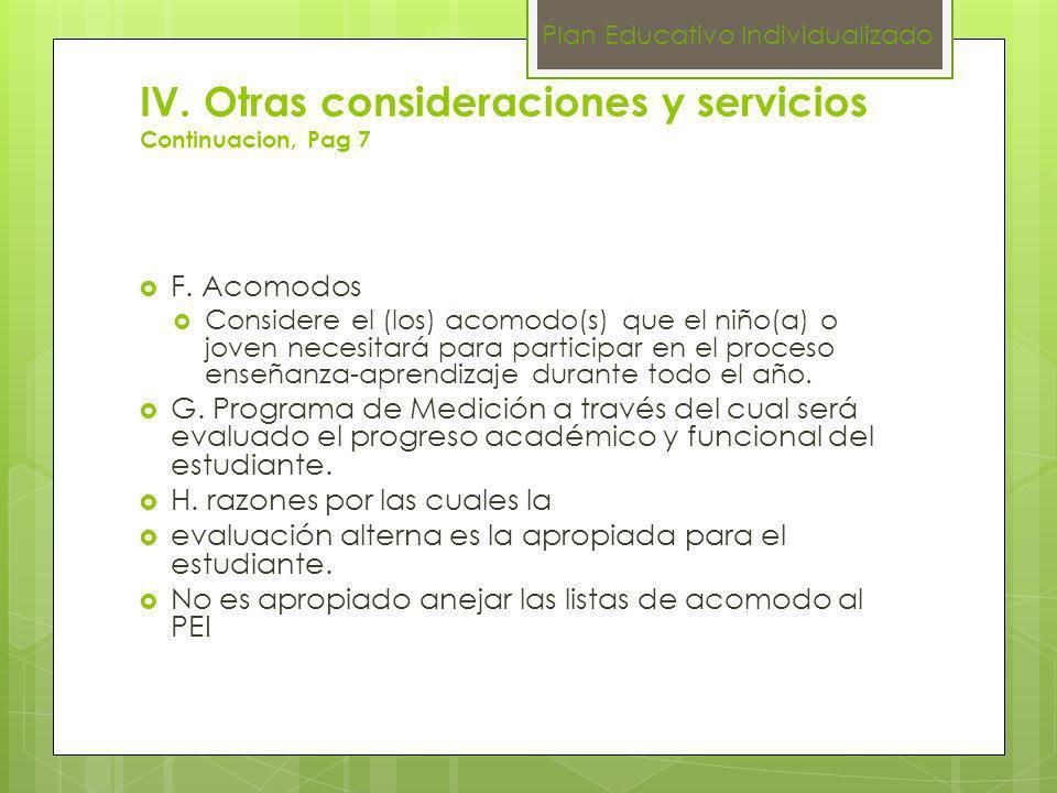 IV. Otras consideraciones y servicios Continuacion, Pag 7