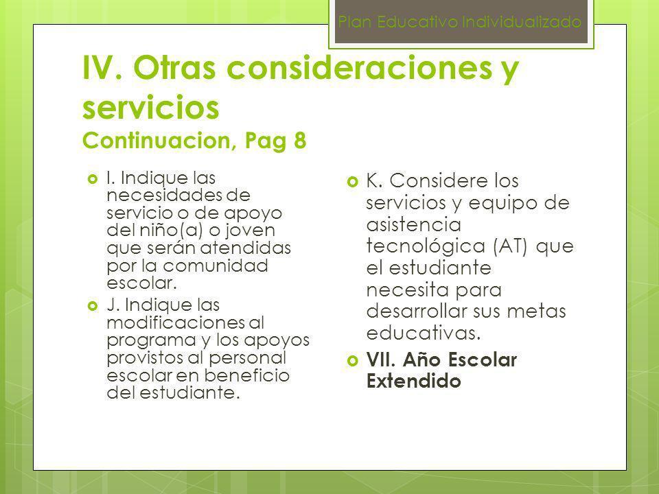 IV. Otras consideraciones y servicios Continuacion, Pag 8